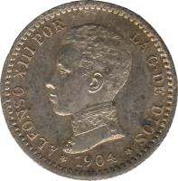 obverse of 50 Centimos - Alfonso XIII - 4'th Portrait (1904) coin with KM# 723 from Spain. Inscription: ALFONSO XIII POR LA G DE DIOS 1904