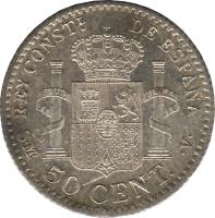 reverse of 50 Centimos - Alfonso XIII - 4'th Portrait (1904) coin with KM# 723 from Spain. Inscription: REY CONSTL. DE ESPAÑA S · M · 50 CENT. · V ·