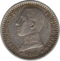 obverse of 50 Centimos - Alfonso XIII - 5'th Portrait (1910) coin with KM# 730 from Spain. Inscription: ALFONSO XIII POR LA G. DE DIOS 1910