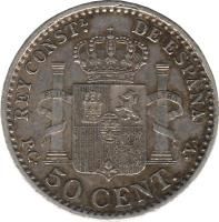reverse of 50 Centimos - Alfonso XIII - 5'th Portrait (1910) coin with KM# 730 from Spain. Inscription: REY CONSTL DE ESPAÑA P.C. 50 CENT. .V.
