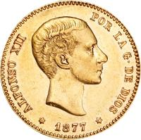 obverse of 25 Pesetas - Alfonso XII - 2'nd Portrait (1876 - 1880) coin with KM# 673 from Spain. Inscription: ALFONSO XII POR LA G · DE DIOS * 1877 *