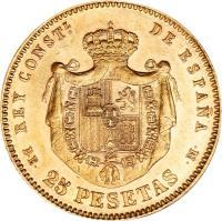 reverse of 25 Pesetas - Alfonso XII - 2'nd Portrait (1876 - 1880) coin with KM# 673 from Spain. Inscription: REY CONSTL. DE ESPAÑA D · E · 25 PESETAS · M ·