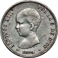 obverse of 2 Pesetas - Alfonso XIII (1889 - 1892) coin with KM# 692 from Spain. Inscription: ALFONSO XIII POR LA G · DE DIOS *1892*