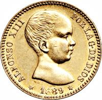 obverse of 20 Pesetas - Alfonso XIII (1887 - 1890) coin with KM# 693 from Spain. Inscription: ALFONSO XIII POR LA G. DE DIOS G.S. 1889