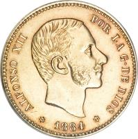 obverse of 25 Pesetas - Alfonso XII - 3'rd Portrait (1881 - 1885) coin with KM# 687 from Spain. Inscription: ALFONSO XII POR LA G · DE DIOS * 1884 *