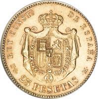 reverse of 25 Pesetas - Alfonso XII - 3'rd Portrait (1881 - 1885) coin with KM# 687 from Spain. Inscription: REY CONSTL. DE ESPAÑA M · S · 25 PESETAS · M ·