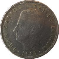 obverse of 25 Pesetas - Juan Carlos I - With mintmark (1982 - 1984) coin with KM# 824 from Spain. Inscription: JUAN CARLOS I REY DE ESPAÑA 1983