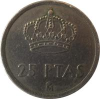 reverse of 25 Pesetas - Juan Carlos I - With mintmark (1982 - 1984) coin with KM# 824 from Spain. Inscription: 25 PTAS M