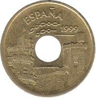 obverse of 25 Pesetas - Juan Carlos I - Navarre (1999) coin with KM# 1007 from Spain. Inscription: ESPAÑA 1999