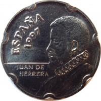 obverse of 50 Pesetas - Juan Carlos I - Juan de Herrera (1997) coin with KM# 985 from Spain. Inscription: ESPAÑA 1997 JUAN DE HERRERA