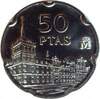 reverse of 50 Pesetas - Juan Carlos I - Juan de Herrera (1997) coin with KM# 985 from Spain. Inscription: 50 PTAS M
