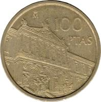 reverse of 100 Pesetas - Juan Carlos I - National Library (1996) coin with KM# 964 from Spain. Inscription: M 100 PTAS