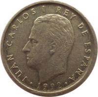obverse of 100 Pesetas - Juan Carlos I - Denomination 100 (1992) coin with KM# 908 from Spain. Inscription: JUAN CARLOS I REY DE ESPAÑA · 1992 ·