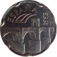 obverse of 50 Pesetas - Juan Carlos I - Extremadura (1993) coin with KM# 921 from Spain. Inscription: ESPAÑA 1993