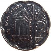 reverse of 50 Pesetas - Juan Carlos I - Extremadura (1993) coin with KM# 921 from Spain. Inscription: EXTREMADURA 50PTAS