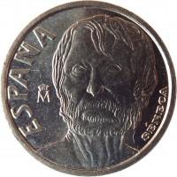 obverse of 10 Pesetas - Juan Carlos I - Seneca (1997) coin with KM# 982 from Spain. Inscription: ESPAÑA M SENECA