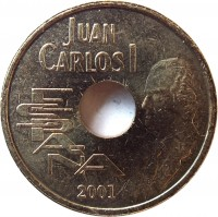 obverse of 25 Pesetas - Juan Carlos I (2000 - 2001) coin with KM# 1013 from Spain. Inscription: Juan Carlos I ESPAÑA 2001