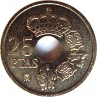 reverse of 25 Pesetas - Juan Carlos I (2000 - 2001) coin with KM# 1013 from Spain. Inscription: 25 PTAS M