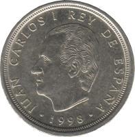 obverse of 10 Pesetas - Juan Carlos I (1998 - 2000) coin with KM# 1012 from Spain. Inscription: JUAN CARLOS I REY DE ESPAÑA · 1998 ·
