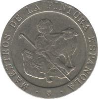 obverse of 200 Pesetas - Juan Carlos I - Masters of Spanish Painting (1995) coin with KM# 951 from Spain. Inscription: MAESTROS DE LA PINTURA ESPAÑOLA