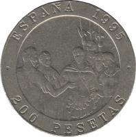 reverse of 200 Pesetas - Juan Carlos I - Masters of Spanish Painting (1995) coin with KM# 951 from Spain. Inscription: ESPAÑA 1995 200 PESETAS