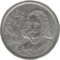 obverse of 10 Pesetas - Juan Carlos I - Francisco de Quevedo (1995) coin with KM# 947 from Spain. Inscription: ESPAÑA 1995 D, franco, de quebedo