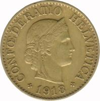 obverse of 10 Rappen (1918 - 1919) coin with KM# 27a from Switzerland. Inscription: CONFOEDERATIO HELVETICA 1919