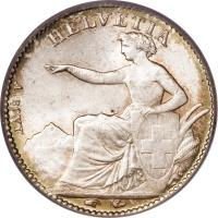 obverse of 1/2 Franc (1850 - 1851) coin with KM# 8 from Switzerland. Inscription: HELVETIA A. BOVY