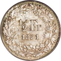 reverse of 1/2 Franc (1850 - 1851) coin with KM# 8 from Switzerland. Inscription: 1/2 Fr. 1850