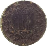 obverse of 1 Skilling Rigsmont - Frederik VII (1856 - 1863) coin with KM# 763 from Denmark. Inscription: F VII 1865