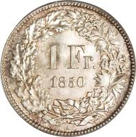 reverse of 1 Franc (1850 - 1857) coin with KM# 9 from Switzerland. Inscription: 1 Fr. 1850
