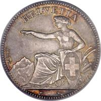 obverse of 2 Francs (1850 - 1857) coin with KM# 10 from Switzerland. Inscription: HELVETIA