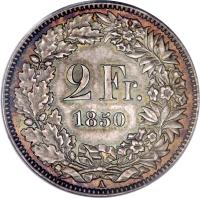 reverse of 2 Francs (1850 - 1857) coin with KM# 10 from Switzerland. Inscription: 2 Fr. 1850