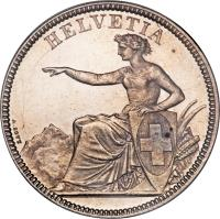 obverse of 5 Francs (1850 - 1884) coin with KM# 11 from Switzerland. Inscription: HELVETIA A.BOVY