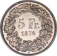 reverse of 5 Francs (1850 - 1884) coin with KM# 11 from Switzerland. Inscription: 5 FR. 1874 B