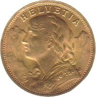 obverse of 20 Francs (1897 - 1949) coin with KM# 35 from Switzerland. Inscription: HELVETIA