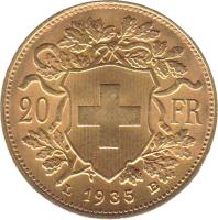 reverse of 20 Francs (1897 - 1949) coin with KM# 35 from Switzerland. Inscription: 20 FR 1935 LB
