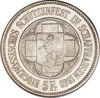 obverse of 5 Francs - Shooting Festival (1865) coin with X# S8 from Switzerland.