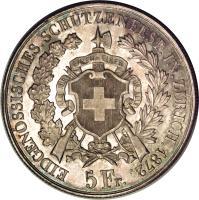 obverse of 5 Francs - Shooting Festival (1872) coin with X# S11 from Switzerland. Inscription: EIDGENÖSSISCHES.SCHÜTZENFEST.IN.ZÜRICH.1872. 5 Fr.