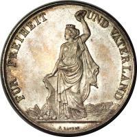 reverse of 5 Francs - Shooting Festival (1872) coin with X# S11 from Switzerland. Inscription: FÜR FREIHEIT UND VATERLAND