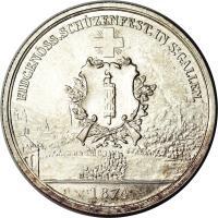 obverse of 5 Francs - Shooting Festival (1874) coin with X# S12 from Switzerland. Inscription: EIDGENÖSS.SCHÜZENFEST.IN.ST.GALLEN. 1874