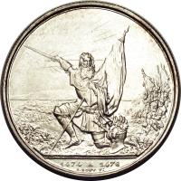 reverse of 5 Francs - Shooting Festival (1874) coin with X# S12 from Switzerland. Inscription: 1474 A 1476 A.BOVY FY.