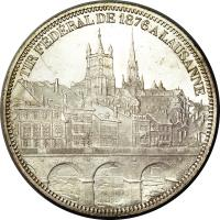 reverse of 5 Francs - Shooting Festival (1876) coin with X# S13 from Switzerland.