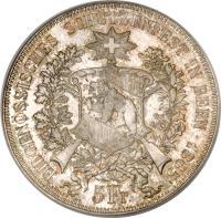 obverse of 5 Francs - Shooting Festival (1885) coin with X# S17 from Switzerland. Inscription: EIDGENÖSSISCHES SCHÜTZENFEST IN BERN · 1885 5 Fr. C.BÜHLER INV