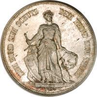 reverse of 5 Francs - Shooting Festival (1885) coin with X# S17 from Switzerland. Inscription: DEM BUND ZUM SCHUTZDEM FEIND ZUM TRUTZ E.DURUSSEL