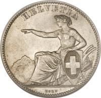 obverse of 2 Francs (1860 - 1863) coin with KM# 10a from Switzerland. Inscription: HELVETIA KORN