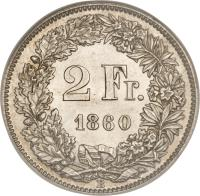 reverse of 2 Francs (1860 - 1863) coin with KM# 10a from Switzerland. Inscription: 2 Fr. 1860 B