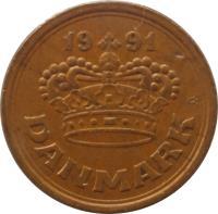 obverse of 25 Øre - Margrethe II (1990 - 2008) coin with KM# 868 from Denmark. Inscription: 19 91 DANMARK