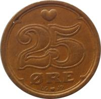 reverse of 25 Øre - Margrethe II (1990 - 2008) coin with KM# 868 from Denmark. Inscription: ♥ 25 ØRE