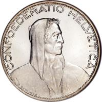 obverse of 5 Francs (1924 - 1928) coin with KM# 38 from Switzerland.